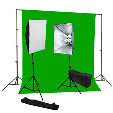 Studio photography softbox lighting kit chromakey green backdrop Support System