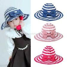 2-6Y Kids Baby Girl Sun Hat Stripe Pattern Summer Beach Baby Sun Hat Cap M30