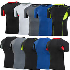 Mens Athletic Seamless Compression Top T-Shirt Outdoor Fitness Base Layer S-XXXL