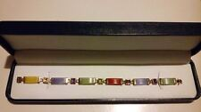 EXCELLENT QVC 14k Yellow Gold Chinese Jade Bracelet with Gemstones to Links*****