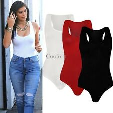 Ladies Women Sleeveless Plain Stretch Leotard Bodysuit Women Top Summer Blouse