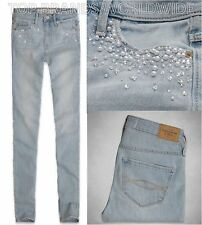 ABERCROMBIE & FITCH WOMENS JEANS BLING SUPER SKINNY HIGH RISE DENIM PANTS $128