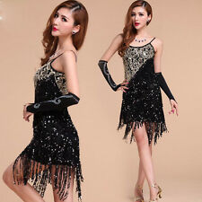 Women Cocktail Party Latin Ballroom Dance Sequin Fringe Lady Club Backless Dress