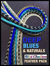 Feather Hair Extensions Grizzly Deep Blues Natural Pack 14 4FREE Tool Beads Kit
