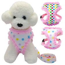 Pink Lace Pet Puppy Dog Vest Harness and Lead Cute for Small Dogs Yorkie Poodles
