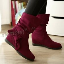Hot Womens Bowknot Faux Suede Ankle Boots Flats Hidden Wedge Slouch Shoes Winter