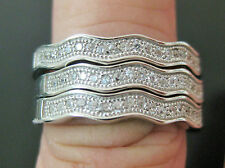 925 Sterling Silver CZ 3-in-1 Pave Wave Stackable Dress Women Rings sz L N P
