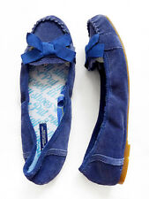 NEW WITHOUT TAG AMERICAN EAGLE Blue Suede Leather Flats/Shoes + Pretty Bow Sz 6