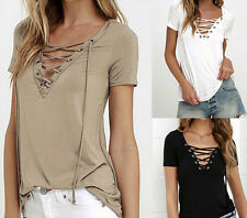 Shirt Blouse  Short Sleeve  Tops  Cotton  Loose  Pullover  Fashion  Womens  New