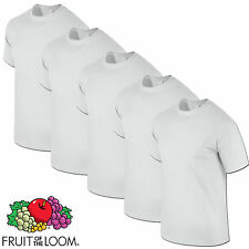 5 PACK WHITE HEAVY COTTON FRUIT OF THE LOOM MENS T SHIRTS