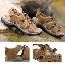 Men Genuine Leather Beach Sandals Fisherman Open Toe Shoes Sport Flat Shoes HOT