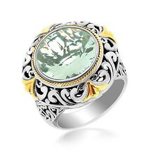 18K Yellow Gold and Sterling Silver Vintage Design Ring with a Green Amethyst