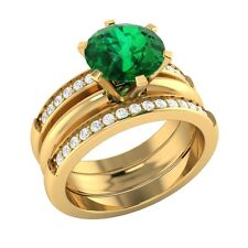 2.20ct Real Green Emerald & Diamond Solid Gold Engagement Wedding Guard Ring Set