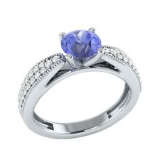 0.80 ct Real Tanzanite & Certified Diamond Solid Gold Wedding Engagement Ring