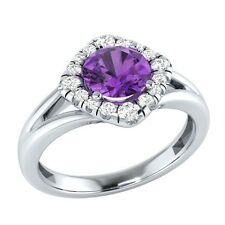 0.75 ct Natural Amethyst & Diamond Solid Gold Wedding Engagement Ring