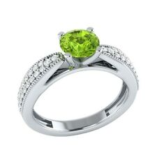 0.80 ct Real Peridot & Certified Diamond Solid Gold Wedding Engagement Ring