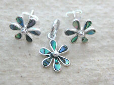 925 STERLING SILVER NZ paua shell ABALONE small FLOWER earrings pendant girl tee