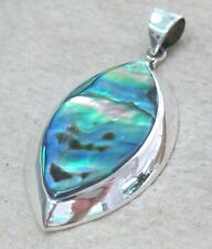 SOLID 925 STERLING SILVER NZ PAUA SHELL ABALONE & MOP PEAR SHAPE PENDANT