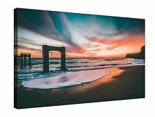Colourful Sky Sunset Seaside - Canvas Wall Art Framed Picture Print + sizes