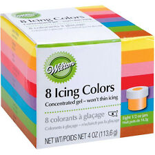 Wilton 8 Set Food Colouring Gel Paste - Fondant Icing Cake Colour Pack