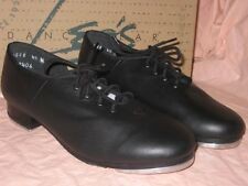 LEOS DANCEWEAR 4028 LEATHER CHILD TIE-UP FULL SOLE Black JAZZ TAP SHOES 4.5US