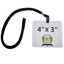 10 Pack - 4x3 Trade Show Convention Badge Holders with Lanyards ( 4 x 3 Insert)