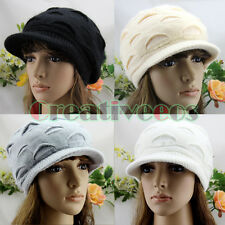 Brim Visor Flat Top Beanie Women Girl Winter Cap Soft Warm Wool Knit Hat Angora