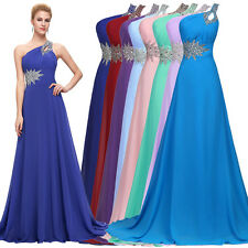 Formal One-shoulder Long Evening Party Bridesmaid Cocktail Prom Ball Gown Dress