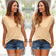 Women Fashion Sexy Tassel Short Sleeve Personalized Top Loose Blouse Summer 2016