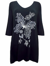 Womens plus size 16 18 20 22 24 top longer length tunic black butterfly print