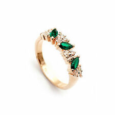 18K Rose Gold GP Peridot Ring with Diamond Crystals R405