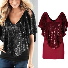 Women Spangle Sequin sparkle glitter Tank Top Vest Short Sleeve T-Shirt Soft Hot