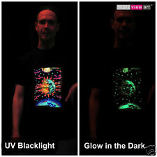 SUN + MOON Mens T-shirt Psychedelic UV Black Light Glow-in-the-dark Fluorescent