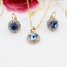 18K Gold Plated Jewelry Set Fashion Earrings Necklace Austrain Crystal, 6 Colors