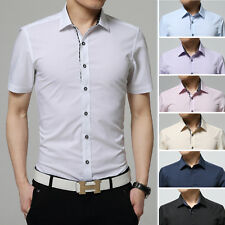 Mens Luxury Casual Formal Shirt Short Sleeve Slim Fit Business Dress Shirts Tops