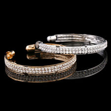 Fashion 2-row Crystal Rhinestone Bangle Cuff Bracelet Jewelry Women Lady Bridal