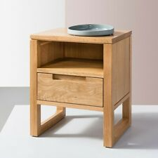 Bruno 1 Drawer Timber Bedside Table - Solid Oak Wood - 35x42x49cm