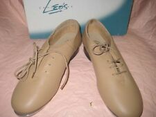 NEW LEOS DANCEWEAR WOMEN QUANTUM J.T. COMPETITION TAN LEATHER TAP SHOES Sz 7 US