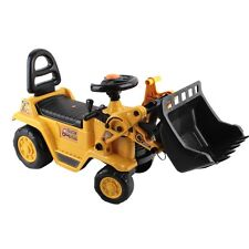 Kids Fun Ride On Bulldozer Toy Truck with Safety Helmet Yellow