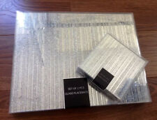 Set Of 4 Sparkle Glass Glitter Placemats & 4 Coasters Silver/Gold Dining Table