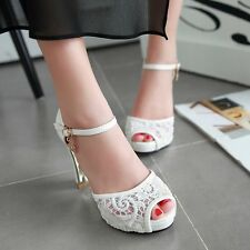 Trendy Sexy White Lace Wedding Party Shoes Peep Toe High Heel Platform Sandals