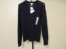 NWT Charter Club Womens L/S Cable Knit Sweater-Crew Neck-Black-XL-Retail-$59.50