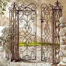 Iron Double Gate With Posts Garden Traditional Antique Brown 2 Door Patio Gates