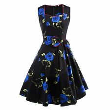 Women Vintage Style Floral Prints 50'S 60'S Rockabilly Check Pinup Casual Dress