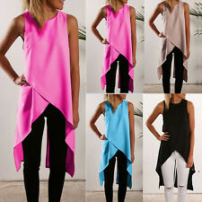 Sexy Casual Women Ladies Sleeveless Back Split Irregular Hem Chiffon Long Tops