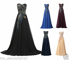 Retro Vintage Long Evening Dresses Maxi Chiffon Party Prom Dress Formal Gowns