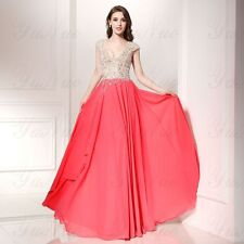 YuNuo 2016 Sleeveless Prom Evening Party Dress Prom Ball Backless Lace Gown