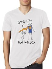 Daddy Is My Hero - Super Dad Gift Idea for Father's Day V-Neck T-Shirt for Dad
