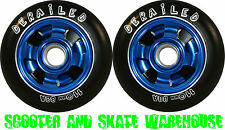2 X 110mm METAL CORE DERAILED SCOOTER WHEELS BLUE - FREE DELIVERY