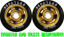 2 X 110mm METAL CORE DERAILED SCOOTER WHEELS GOLD - FREE DELIVERY